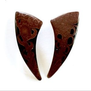 Artsy brown Black Enameled Earrings Vintage